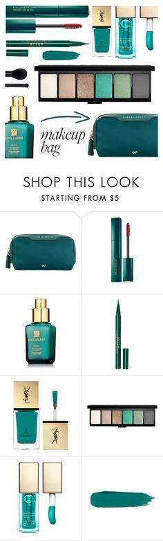 """Makeup Bag"" by rasa-j ❤ liked on Polyvore featuring beauty, Anya Hindmarch, Estée Lauder, Stila, Yves Saint Laurent, John Lewis, Clarins, Forever 21, makeupbag and beautyset"