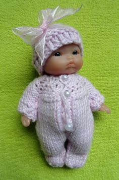 """Hand Knitted Dolls Clothes for Berenguer, Ooak Doll, 5""""; 6.5""""-7""""; 8"""" (#281) 