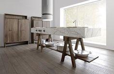 marbre et plan de travail en pierre et bois pour cuisine