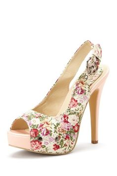Charles Albert Peep Toe Platform Pump  maybe if I cover a show w/ fabric it can be like this- future project
