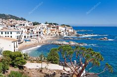 The village of Calella de Palafrugell (Costa Brava, Catalonia, S Royalty Free St , Costa, Cadaques Spain, Graphic Illustration, Seaside, Tourism, Spanish, Mexico, Stock Photos, Beach
