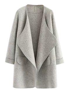 Gray Lapel Open Front Pocket Detail Long Sleeve Knit Coat   abaday  Great w/ brooch & ribbon.
