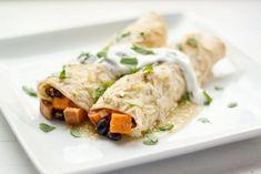 Sweet Potato, Black Bean and Green Chile Enchiladas | a Couple Cooks