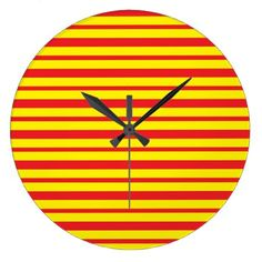 Thick and Thin Red and Yellow Stripes Large Clock - home decor design art diy cyo custom