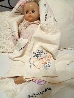 "1940s R&B ARRANBEE 21"" COMPOSITION LITTLE ANGEL BABY DOLL + ANTIQUE BABY QUILT"