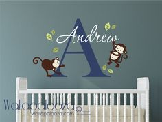 Monkey Wall Decal  Boys Name Wall Decal  Childrens Wall