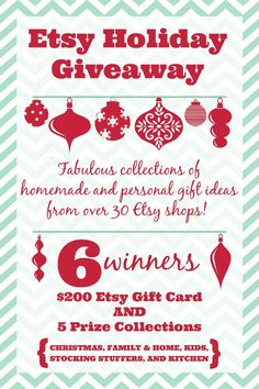 Etsy Holiday Giveaway with 6 winners - $200 Etsy  gift card and 5 prize packages up for grabs! PLUS, an awesome Etsy Holiday Gift Guide to browse! {The Love Nerds}