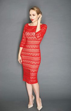 This is a detailed tutorial for crochet lace dress for women named Dolce. Bodycone shaping, variable sleeves length, lots of photos and diagrams. I made at least 6 similar dresses, so you can see color options and choose which is the best for you. The dress is worked in rounds, top