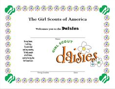 Girl Scout Daisy Welcome Certificate