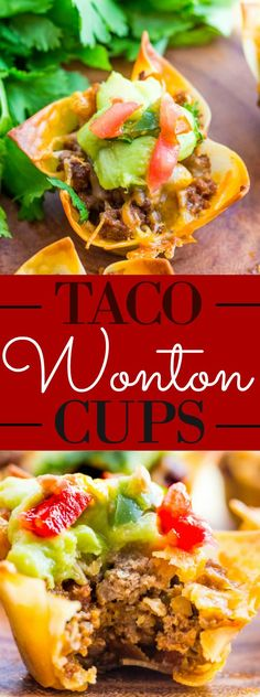 Wonton Cups Crunchy and bite sized these Taco Wonton Cups are a quick and easy appetizer for any time of day.Crunchy and bite sized these Taco Wonton Cups are a quick and easy appetizer for any time of day. Lunch Snacks, Snacks Für Party, Appetizers For Party, Clean Eating Snacks, Wonton Appetizers, Wonton Tacos, Health Appetizers, Bite Size Appetizers, Appetizer Ideas