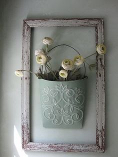 DIY Shabby Chic Decorating Framed Flower Bucket #shabbychicbathroomsdiy #DIYHomeDecorShabbyChic