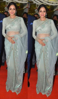 Bollywood Style Sridevi in silver color netted saree Bollywood Lehenga, Bollywood Fashion, Sabyasachi, Bollywood Actors, Saree Wearing Styles, Saree Styles, Saree Blouse Patterns, Saree Blouse Designs, Indian Dresses