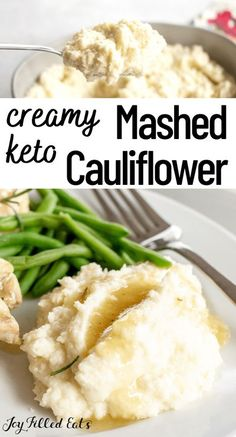 These are the best dairy-free cauliflower mashed potatoes I have tried. If you are avoiding dairy or just looking to lighten up your side dish for dinner you must try this Keto Cauliflower Mash. My easy recipe is low carb, keto, gluten-free, grain-free, dairy-free, vegan, whole30, paleo, sugar-free, and Trim Healthy Mama friendly. Vegan Keto Recipes, Best Low Carb Recipes, Low Carb Dinner Recipes, Real Food Recipes, Ketogenic Recipes, Lunch Recipes, Ketogenic Diet, Paleo, Healthy Recipes