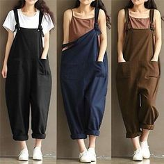 Womens Oversized Dungaree Jumpsuits Overalls Loose Harem Pants Trousers NIUK