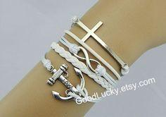Anchor braceletsJewelryCouple white leather by goodlucky on Etsy, $10.29