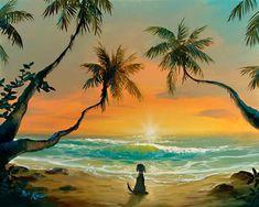 Friends Along The Way by artist Rob Kaz Celebration Fl, Water Island, Art Friend, Ocean Beach, Dog Love, Cute Art, Pup, Fantasy, Friends