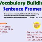 These sentence frames illustrate the vocabulary frames ELD strategy developed by the Arizona Department of Education and used by ELL learners every...