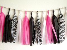 Hot Pink Zebra Tissue Paper Tassel Garland  - Party - Wedding - Baby Shower - Nursery