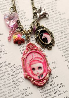 Unicorn Pinkly - Pink with Envy - original Blythe cameo necklace by Mab Graves