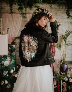 painted leather jacket Botanical Wedding, Floral Wedding, Painted Leather Jacket, Bridal Portrait Poses, Bridal Cape, Flower Studio, Bridal Pictures, Flatlay Styling, Painting Leather