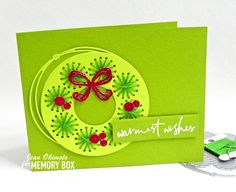 Stitched and glittered for the holidays Berry Wreath, Glitter Cardstock, Wreath Crafts, Wax Paper, Red Glitter, Stitch Design, Mistletoe, Clear Stamps, Traditional Design