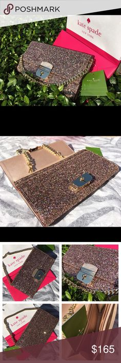 """Kate Spade Gold Rose Glitter Bag/Clutch Super cute and shining Kate spade gold rose sunset lane bag. Gold plated hardware. Slip pocket on the back. Detachable wrestler chain. Flap closure with snap lock. 8 credit card holders, 2 multipurpose compartments with zipper pocket. Measurement: 7.5""""✖️4"""". NWT kate spade Bags"""