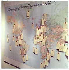 Wanderlust travel wall, travel bedroom, travel memories, prayer room, t Travel Bedroom, Prayer Room, Prayer Wall, Travel Themes, World Travel Decor, Travel Theme Decor, World Map Decor, Travel Destinations, Home And Deco