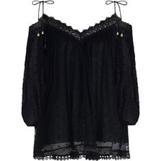ZIMMERMANN Realm Scallop Top (2,805 CNY) ❤ liked on Polyvore featuring tops, polka dot top, off the shoulder tops, blouson swim top, scalloped swim top and lace detail top