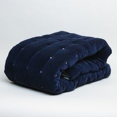 Vivaraise Elise Cotton Velvet Quilt Eclipse (£205) ❤ liked on Polyvore featuring home, bed & bath, bedding, quilts, cotton bed linen, velvet bedding, navy blue bedding, greige bedding and dark blue bedding