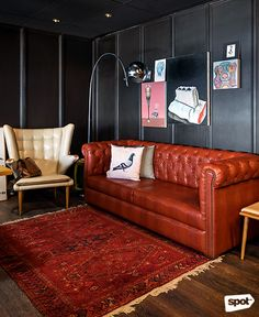 The Space Encounters office showcases consistent branding, a refined take on mid-century design through finishes and furniture, and thoughtful details. Cool Office, Mid Century Design, Manila, Offices, My Design, Couch, Cool Stuff, Space, Furniture