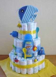 Unique Boy Diaper Cakes... instructions and photos of unique boy diaper gifts