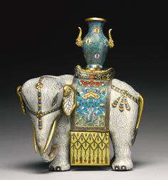 A CLOISONNE-ENAMELED FIGURE OF AN ELEPHANT<br>QING DYNASTY, QIANLONG / JIAQING PERIOD | Sotheby's