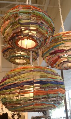 Weave fabric lanterns-Katherine, I can totally see these in your nursery room! Would like to try this on a tomato cage.