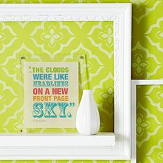 Use crisp white-painted frames against a stenciled wall art to create a spunky wall display! More DIY wall art projects: http://www.bhg.com/decorating/do-it-yourself/wall-art/wall-art-projects/?socsrc=bhgpin071113whiteframes=11