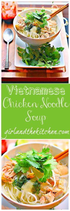 This Vietnamese Chicken noodle soup combines a perfectly fragrant and light broth with rice noodles, chilies and fresh cilantro for the ultimate slurping Soup Recipes, Chicken Recipes, Dinner Recipes, Cooking Recipes, Chicken Soup, Chicken Spaghetti, Indian Food Recipes, Asian Recipes, Healthy Recipes