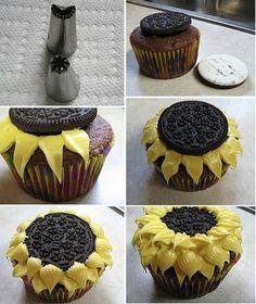 Cupcakes girasoles con galletas Oreo | Recetas para niños y purés para bebés