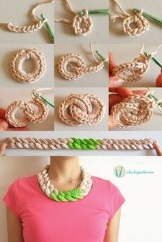 Crochet chain necklace, free pattern, photo tutorial, written instructions (try in wire or gold tread) Crochet chain necklace -- could be a headband? Would be a cool blanket or scarf if you add rows to make wider You love knitting, and you sure love creat Crochet Chain, Love Crochet, Diy Crochet, Crochet Crafts, Crochet Stitches, Crochet Projects, Simple Crochet, Crochet Ideas, Diy Crafts