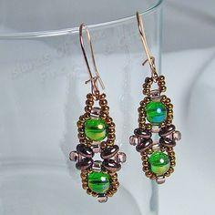 Copper Green Criss Cross Beaded Earrings Rose Gold Handmade Accessory | IslandsOfTime - Jewelry on ArtFire