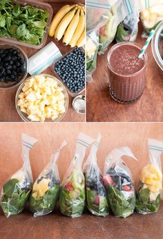 Make a month of frozen green smoothies in an hour with this simple, customizable technique. Try these easy frozen fruit smoothie recipes for a healthy and tasty breakfast alternative, with leafy green, fruits, veggies and more to keep you energized. Frozen Fruit Smoothie, Healthy Green Smoothies, Fruit Smoothie Recipes, Healthy Drinks, Healthy Snacks, Healthy Recipes, Smoothie Prep, Smoothie Ingredients, Freezer Smoothies