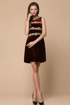 http://www.dayness.com/2015-autumn-and-winter-new-arrivals-same-as-movie-stars-best-quality-burgundy-velvet-diamond-embroidery-stitching-dress-p-10217.html