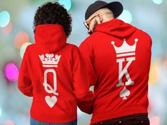 King and Queen King Queen Hoodies Couple Hoodies King Queen King And Queen Sweatshirts, King Queen Shirts, Cute Couple Shirts, Matching Couple Outfits, Sweat Shirt, Matching Hoodies For Couples, Kings & Queens, Colorful Hoodies, Nike Clothes