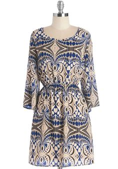 Oh-so Chic Dress - Blue, Tan / Cream, Print, Casual, Boho, A-line, Long Sleeve, Woven, Good, Short, Scoop