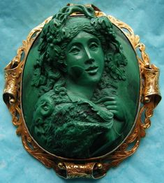 """Front Face Malachite Bacchante""  Malachite in 18k Gold Frame, Italy,  c. 1850-1860    Frame could be English"