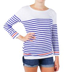 Striped Long Sleeve Slub Tee in Navy and Red by Hiho