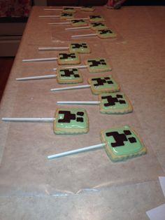 Minecraft cookies on a stick! Minecraft Cookies, Minecraft Party, 9th Birthday, Birthday Ideas, Birthday Parties, Cookie Sticks, Sugar Cookies, Nerdy, Party Ideas