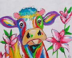 Cow with flowers - www.vrolijkschilderij.nl