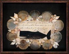 Seashell & Decoupage Shadowbox by Cynthia Rief Seashell & decopupage shadowbox with image of a whale stamp from a Nantucket ship's log and Nantucket scallop shells. Seashell Shadow Boxes, Seashell Frame, Seashell Art, Seashell Crafts, Beach Crafts, Vintage Nautical, Nautical Art, Victorian Art, Beach Art