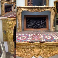 très belle cheminée louis xv finement sculpté marbre jaune fleuri xix siècle