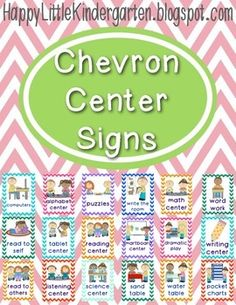 They come in 2 sizes so you are able to use them as posters, in planning and for assigning centers in pocket charts. Classroom Organisation, School Organization, Classroom Management, Classroom Setup, Kindergarten Center Signs, Kindergarten Centers, Preschool Printables, Preschool Classroom, Chevron Classroom