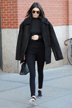 Kendall Jenner wearing black head to toe
